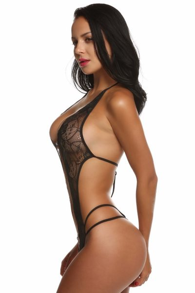 Victoria Body - elöl nyitott, strasszokkal díszített csipke body