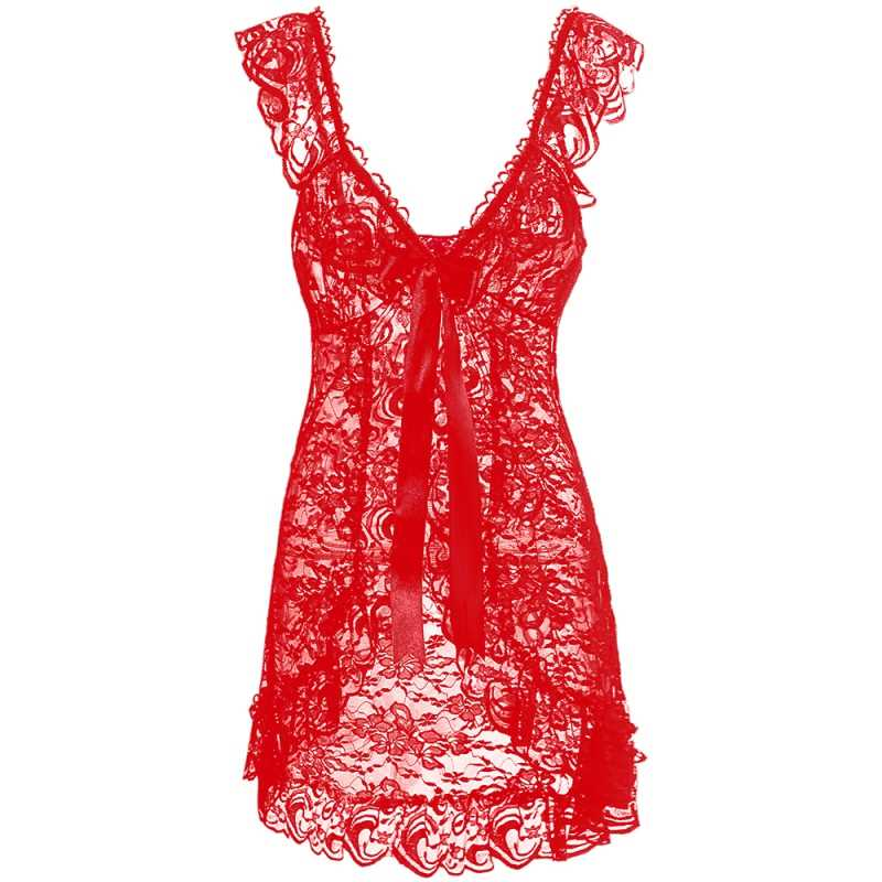 Angel - csipkés, elől nyitott erotikus fehérnemű szett, piros és fekete színben