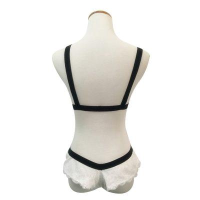 Pamela fehérnemű szett - csipkés fehér - fekete csíkkal, franciabugyival