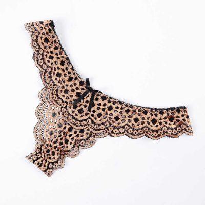 Amy - leopárd mintás melltartó, csipke hatású bugyival